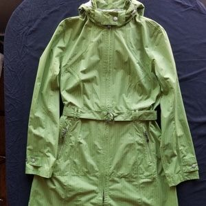 Bright green raincoat, almost new.